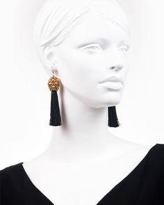 GOLD TEASEL DROP | cercei statement lungi cu ciucure Drop Earrings, Model, Gold, Black, Jewelry, Fashion, Moda, Jewlery, Bijoux