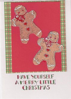 """Gingerbread Wishes. CC10-01 $3.00. 5"""" x7"""" white, red and plaid papers white applique sold as blank Christmas sentiments on blog"""