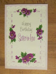 Vintage American Greeting Birthday Card, Violets, Sister-in-Law