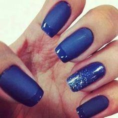 Cool look with the mat finish, glossy tips and bit of sparkle.