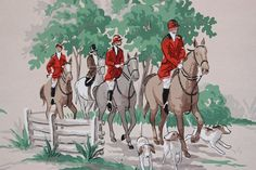 1930's Vintage Wallpaper The Hunt English Red by RosiesWallpaper