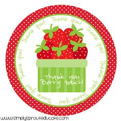 """free printable: """"Thank You Berry Much"""""""