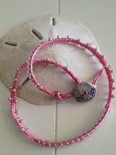 Pink breast cancer bracelet made this month, for sale on Etsy in my shop: http://etsy.com/shop/ JeanBeanGifts
