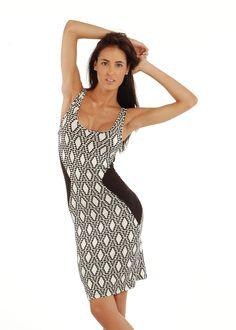 Cute Print Dress- Sleeveless Triangle Print Dress- Knee Length Dress #modaxpress #style #fashion