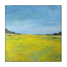 g perillo Abstract Landscape  Modern Minimalist Acrylic Painting on Canvas - 40x40 Yellow,,Greens, Blues.