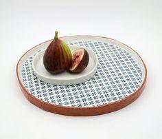 Ceramic Platter - Large Pottery Plate - Patterned Ceramic Platter