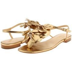 Kate Spade New York Faylyn Flower-Embellished Metallic Leather Thong Sandals - Gold Metallic