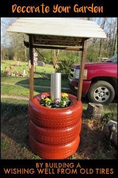 Make a wish in your own garden with this wishing well planter made from recycled tires!