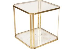"40's French brass and glass end table                23.5""W x 23.5""D x 24""H"