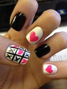 tick tack toe nails, cute!