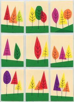 Scotch Tape ATC Card Trees - ART PROJECTS FOR KIDS