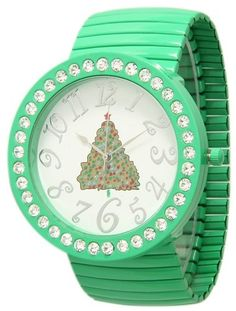 517 Green Womens Christmas RhinestoneAccented Watch * Learn more by visiting the image link.