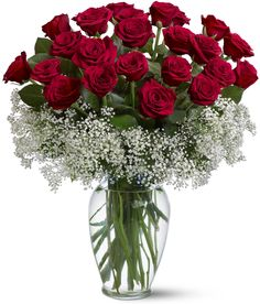 Red rose and Baby's Breath centerpiece floral arrangement