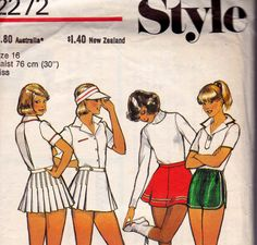 Tennis Skirt Skater Skirt & Shorts 1970s Vintage Sewing Pattern Style 2272 Size 16 Waist 30