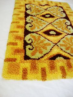 vintage latch hook rug shag style 1970s yarn wall by Sassydoggs, $28.00