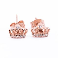 Crown Studs Rose Gold-Plated