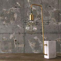 Brass Arm Desk Lamp with Stone Base - de choix by Archeologie