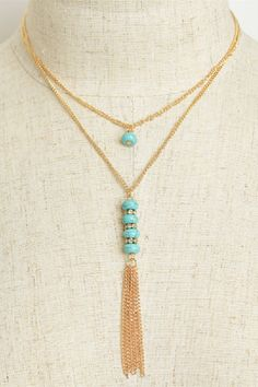 """""""Stone and Chain"""" Layered Tassel Necklaces - Assorted Colors"""