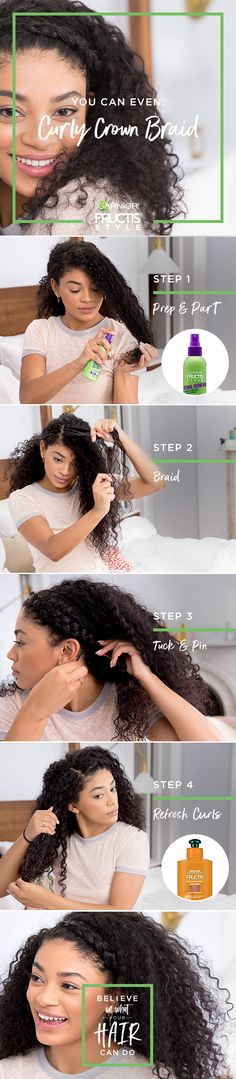 Curly Crown Braid How To| Step One: Use your comb to create a deep side part on whichever side you prefer. To condition and prep hair for easier braiding, spray Curl Renew Reactivating Milk Spray evenly through hair and comb through.  |  Step Two: Pull out the front part of your hair (clipping the rest of your hair back), and divide it into three equal sections.  |  Step Three: Start to braid by splitting the hair in the front into three sections. Then cross the front piece that's on the…