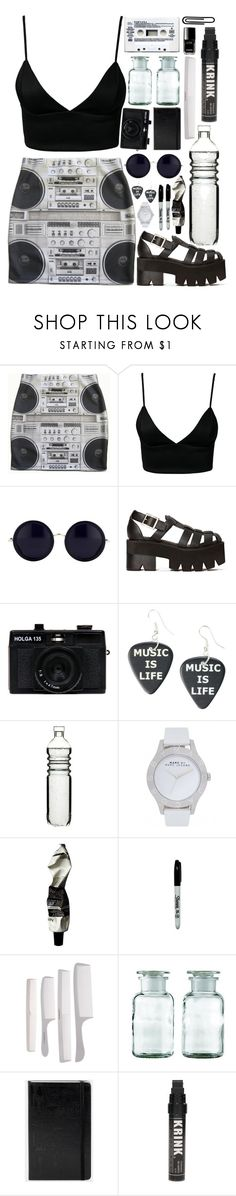 """""""Stereosonic"""" by bondibeachgurlzxo ❤ liked on Polyvore featuring Dark Pink, The Row, Jeffrey Campbell, Holga, Hot Topic, Veras, Sagaform, Marc by Marc Jacobs, Aesop and American Apparel"""