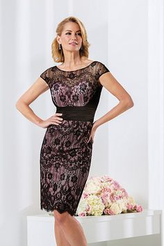 Hot Sale Black Lace Scoop Knee-length Lace Mother of The Bride Dresses
