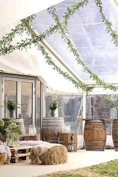 39 Wedding Tent Ideas For A Stunning Reception ❤ wedding tent transparent with greenery rustic wine barrels sonnerupgaard #weddingforward #wedding #bride #weddingtent #weddingdecor