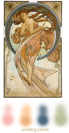 """My Palette. Based off """"the Dancer"""" by Alfonse Mucha Mucha Artist, The Dancer, Wedding Planning, Palette, Princess Zelda, Tattoos, Fictional Characters, Tatuajes, Tattoo"""