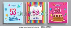 Vector Sets of 53 Years Birthday invitation, greeting card Design, with confetti and balloons, birthday cake, Colorful Vector template Elements for your Birthday Celebration Party.
