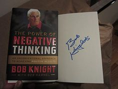 Bobby Knight Coach Signed Autographed Book The Power of Negative Thinking >>> Click image to review more details.