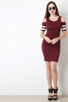 Cold Shoulder Striped Sleeves Bodycon Dress