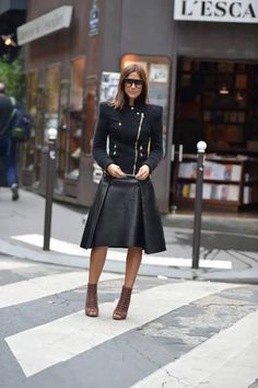 Chic all black jacket and leather skirt fashion black jacket leather fashion pictures fashion ideas