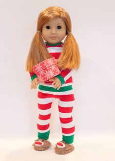 American Girl doll sized Christmas pajamas with sock monkey slippers - red, white, and green by EverydayDollwear on Etsy