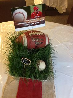 Centerpieces with real grass for football/baseball theme Football Centerpieces, Football Party Decorations, Graduation Party Centerpieces, Football Crafts, Sports Themed Centerpieces, Graduation Open Houses, College Graduation Parties, Graduation Diy, Center Pieces