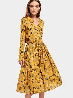 Drawstring Waist Long Sleeve Floral Dress, #afflink