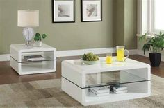 Contemporary White Glass Coffee Table Set