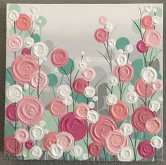 Mint, Pink, Coral, Peach and Gray Textured Nursery Art, Original Painting on Canvas, MADE TO ORDER, select your size