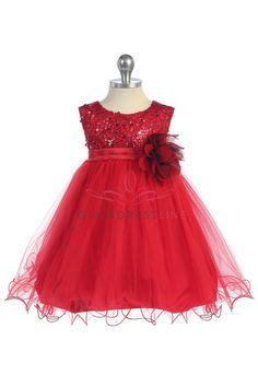 Red+Sequin+Tulle+Infant+Flower+Girl+Dress+K315-RD+$36.95+on+www.GirlsDressLine.Com