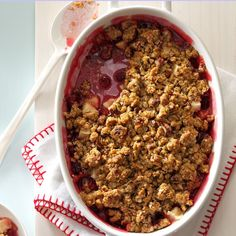 Cranberry-Apple Nut Crunch Recipe -This dessert is especially pretty and appropriate for the holidays. I updated my mother's recipe using instant oatmeal to make it even easier to fix. —Joyce Sheets, Lafayette, Indiana