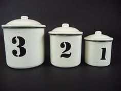 Enamel Ware Cannisters (set of 3) - SOLD - #rustic #interior #homewares #interiorstyle #furniture #homedecor #enamel #enamelware #kitchenware #cannisters #original #old #countryhome