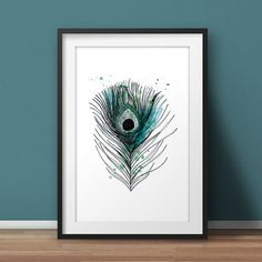 Art print Peacock feather A4 by HarvestNotes on Etsy
