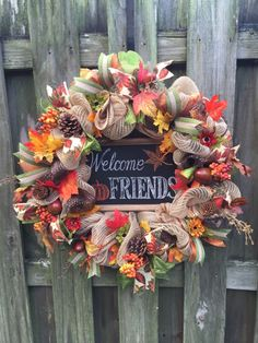 A personal favorite from my Etsy shop https://www.etsy.com/listing/252792110/fall-welcome-wreath-fall-deco-mesh