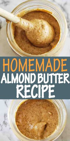 Homemade Almond Butter is smooth and creamy! Easy to make and perfect for breakfast on toast with fruit. #almondbutter #nutbutter @sweetcaramelsunday