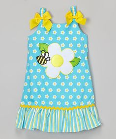 Another great find on #zulily! Turquoise Bee Appliqué Ruffle Dress - Infant, Toddler & Girls by Youngland #zulilyfinds