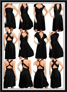 Convertible bridesmaid dresses - what a good idea! Love the style at top row, 3rd one over. Looks retro!