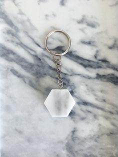 Hexagon Marble Key ring