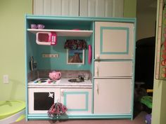 Repurposed Entertainment unit into DIY play kitchen Diy Play Kitchen, Play Kitchens, Furniture Redo, Playroom, Woodworking Projects, My House, Repurposed, Diy Ideas, Daughter