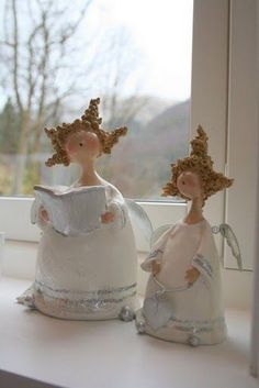 images attach c 7 95 54 - Crafts Angel Crafts, Christmas Crafts, Christmas Decorations, Christmas Ornaments, Paper Mache Crafts, Polymer Clay Crafts, Paper Clay, Clay Art, Christmas Angels