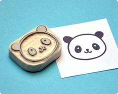 Cute panda hand carved rubber stamp.