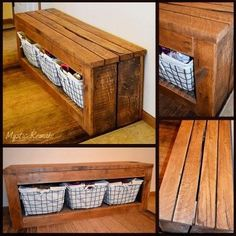 Pallet benches for foyer with storage baskets - LOVE this rustic DIY bench idea!