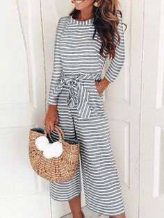8a6b617cd024 Striped Long Sleeve Tied Waist Pocket Jumpsuits